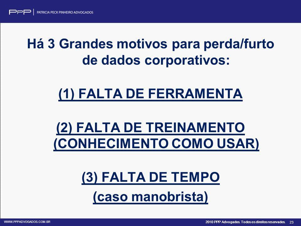 Há 3 Grandes motivos para perda/furto de dados corporativos: (1) FALTA DE FERRAMENTA (2) FALTA DE TREINAMENTO (CONHECIMENTO COMO USAR) (3) FALTA DE TEMPO (caso manobrista)