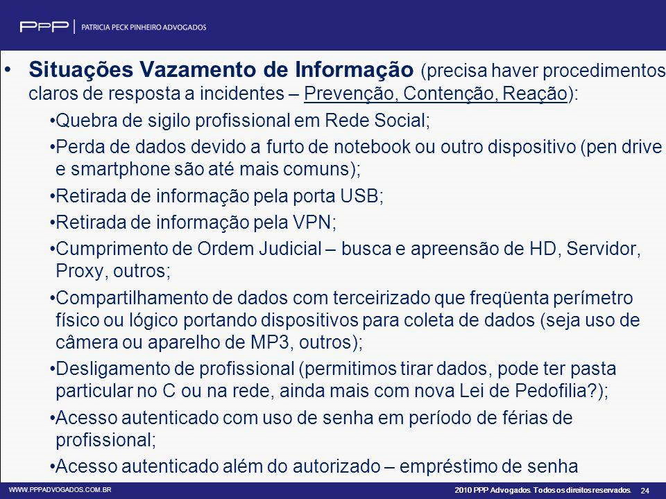 Situações Vazamento de Informação (precisa haver procedimentos claros de resposta a incidentes – Prevenção, Contenção, Reação):