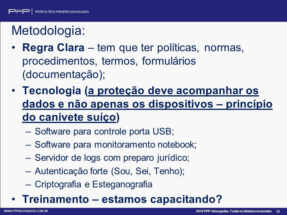 Metodologia: Regra Clara – tem que ter políticas, normas, procedimentos, termos, formulários (documentação);