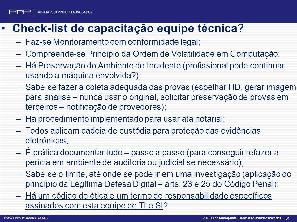 Check-list de capacitação equipe técnica