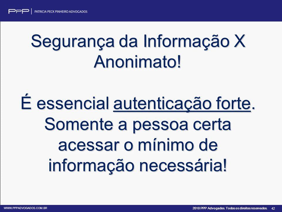 Segurança da Informação X Anonimato. É essencial autenticação forte
