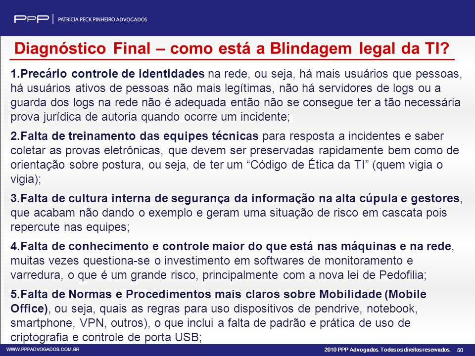 Diagnóstico Final – como está a Blindagem legal da TI