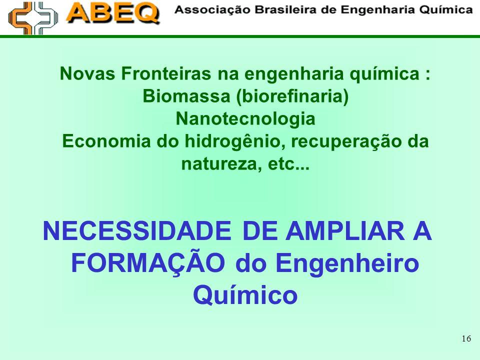 NECESSIDADE DE AMPLIAR A FORMAÇÃO do Engenheiro Químico