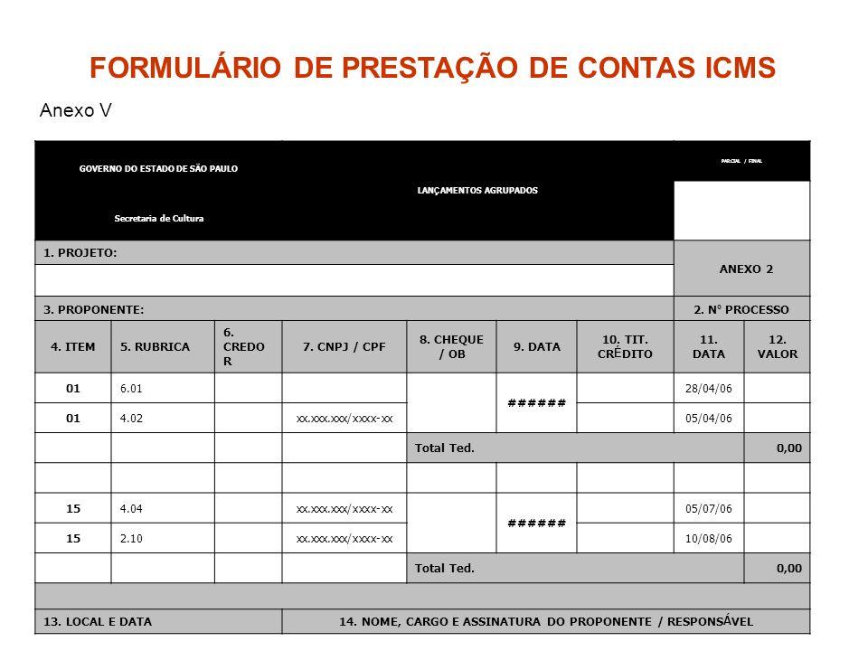 FORMULÁRIO DE PRESTAÇÃO DE CONTAS ICMS