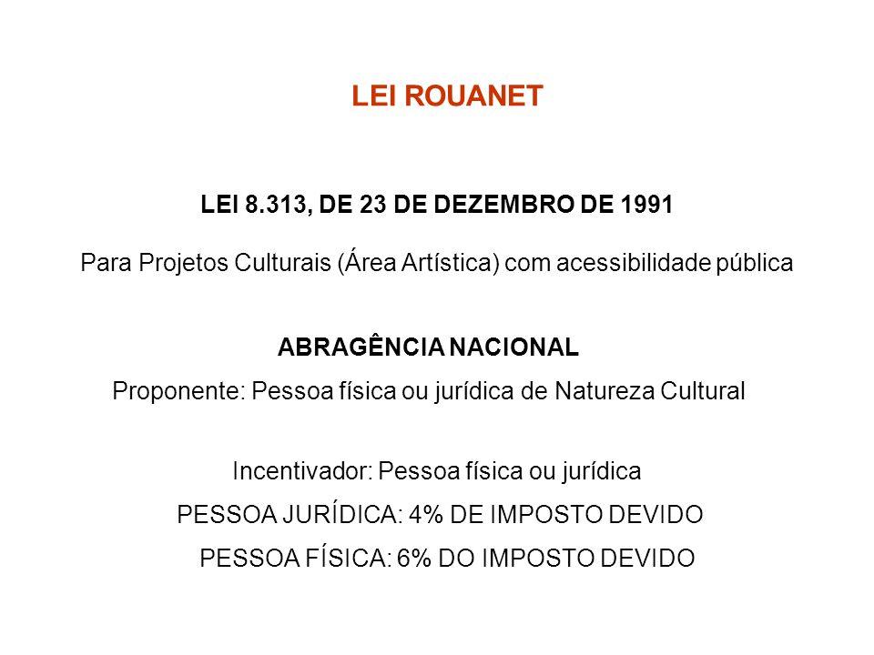 LEI ROUANET LEI 8.313, DE 23 DE DEZEMBRO DE 1991