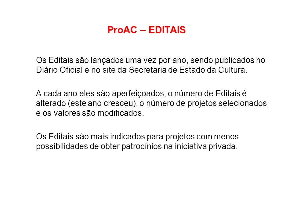 ProAC – EDITAIS Os Editais são lançados uma vez por ano, sendo publicados no Diário Oficial e no site da Secretaria de Estado da Cultura.