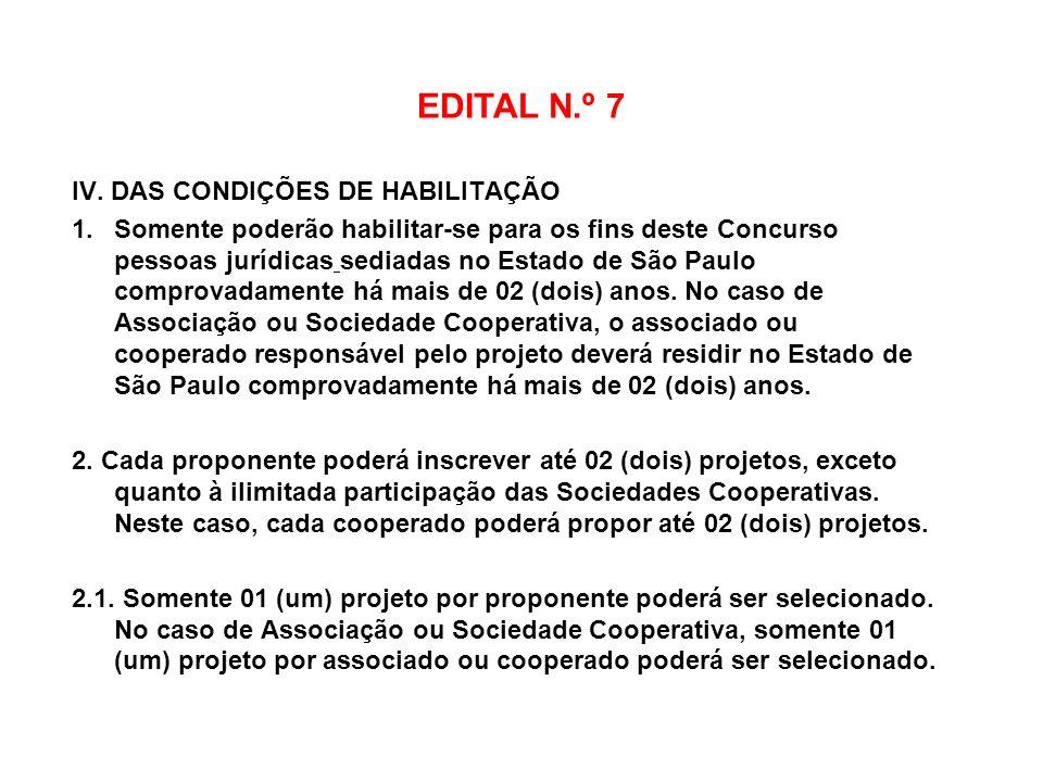 EDITAL N.º 7 IV. DAS CONDIÇÕES DE HABILITAÇÃO