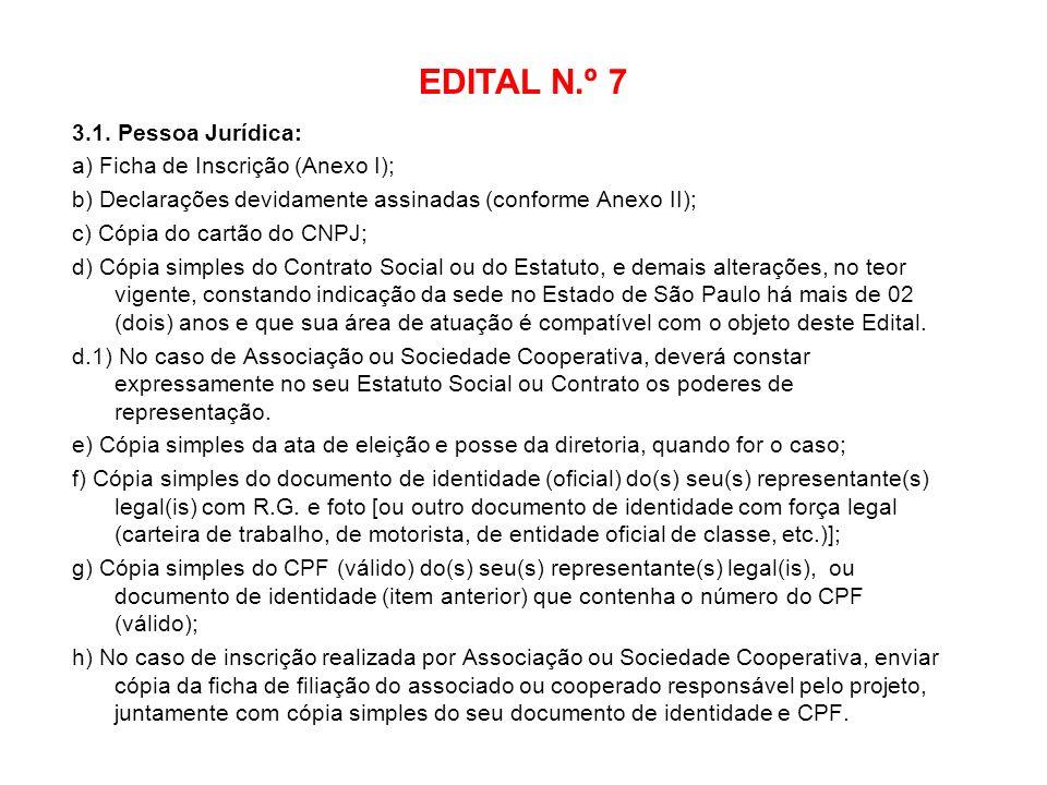 EDITAL N.º 7 3.1. Pessoa Jurídica: a) Ficha de Inscrição (Anexo I);