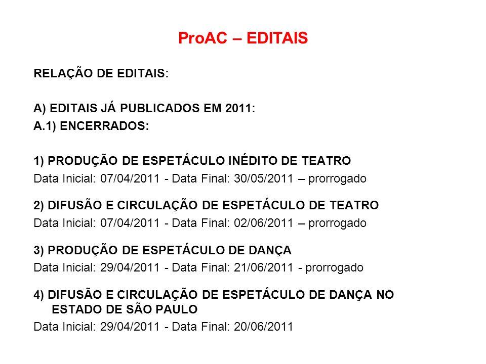 ProAC – EDITAIS RELAÇÃO DE EDITAIS: A) EDITAIS JÁ PUBLICADOS EM 2011: