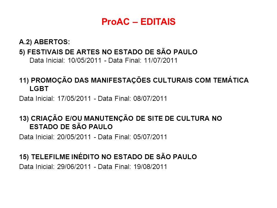 ProAC – EDITAIS A.2) ABERTOS: