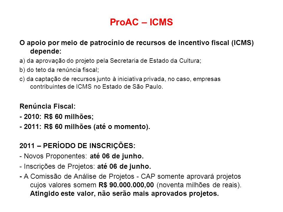 ProAC – ICMS O apoio por meio de patrocínio de recursos de incentivo fiscal (ICMS) depende: