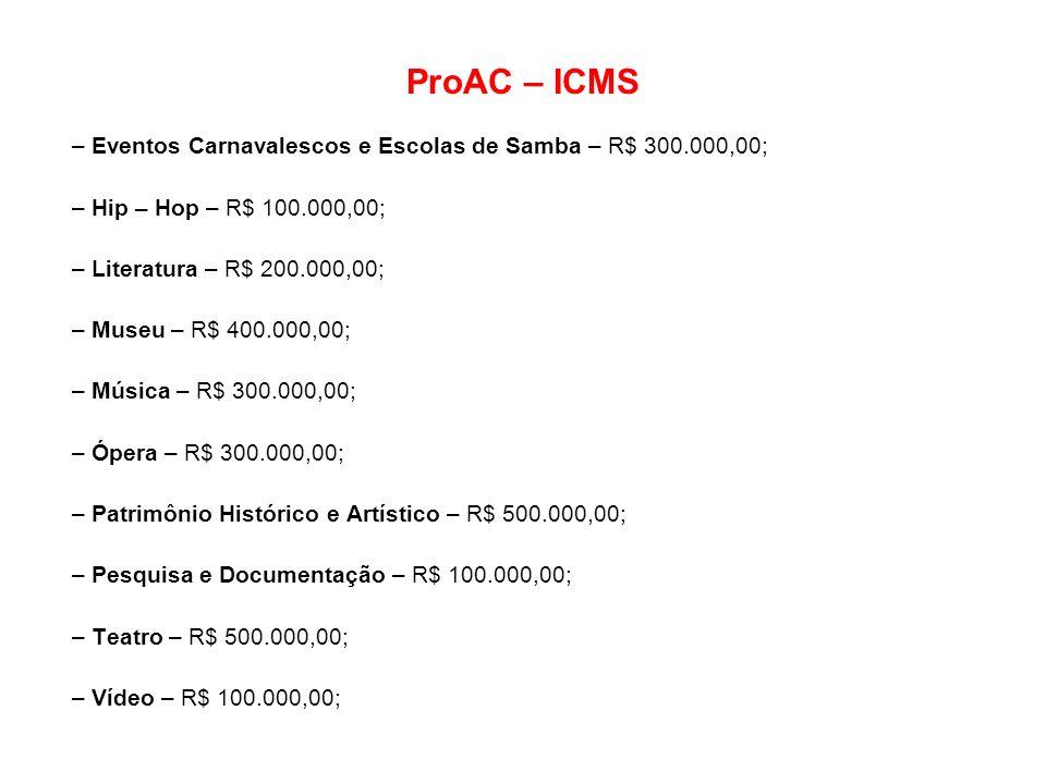 ProAC – ICMS – Eventos Carnavalescos e Escolas de Samba – R$ 300.000,00; – Hip – Hop – R$ 100.000,00;