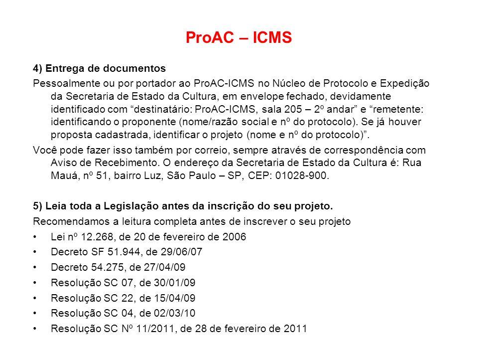 ProAC – ICMS 4) Entrega de documentos