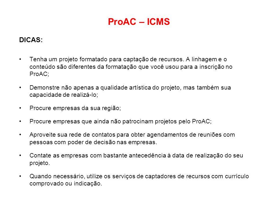 ProAC – ICMS DICAS: