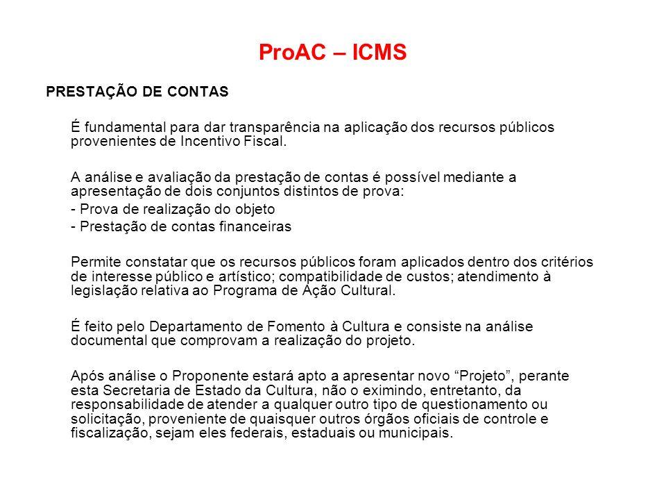 ProAC – ICMS PRESTAÇÃO DE CONTAS