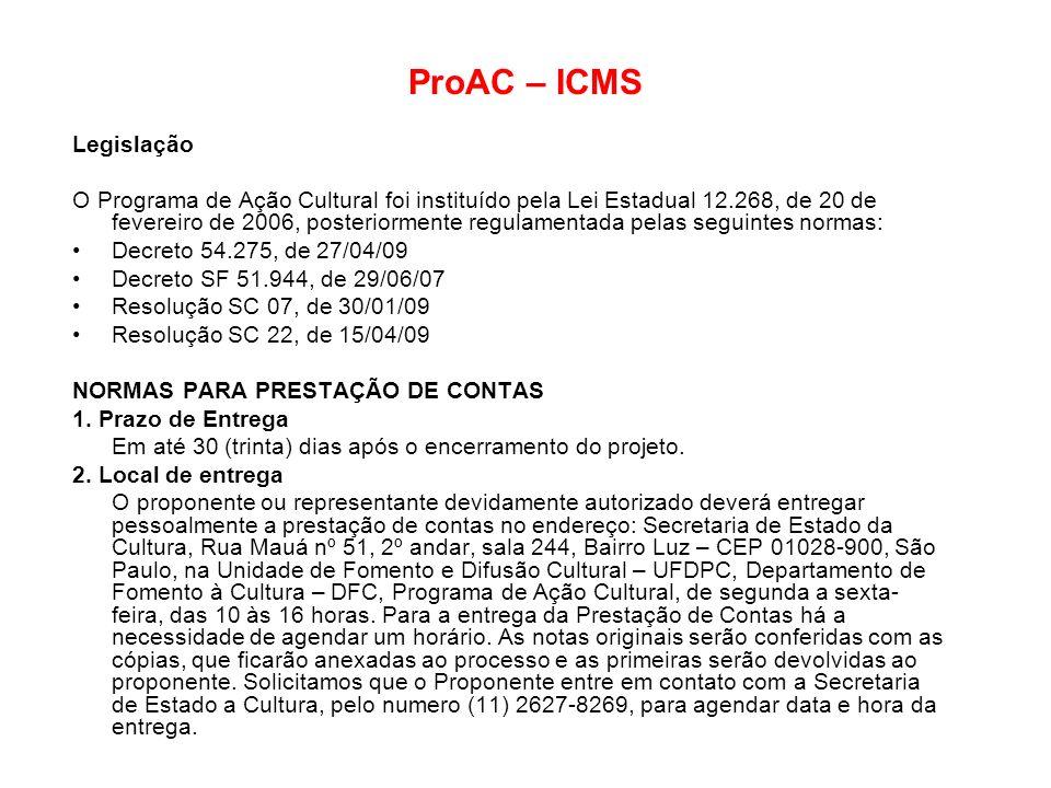 ProAC – ICMS Legislação