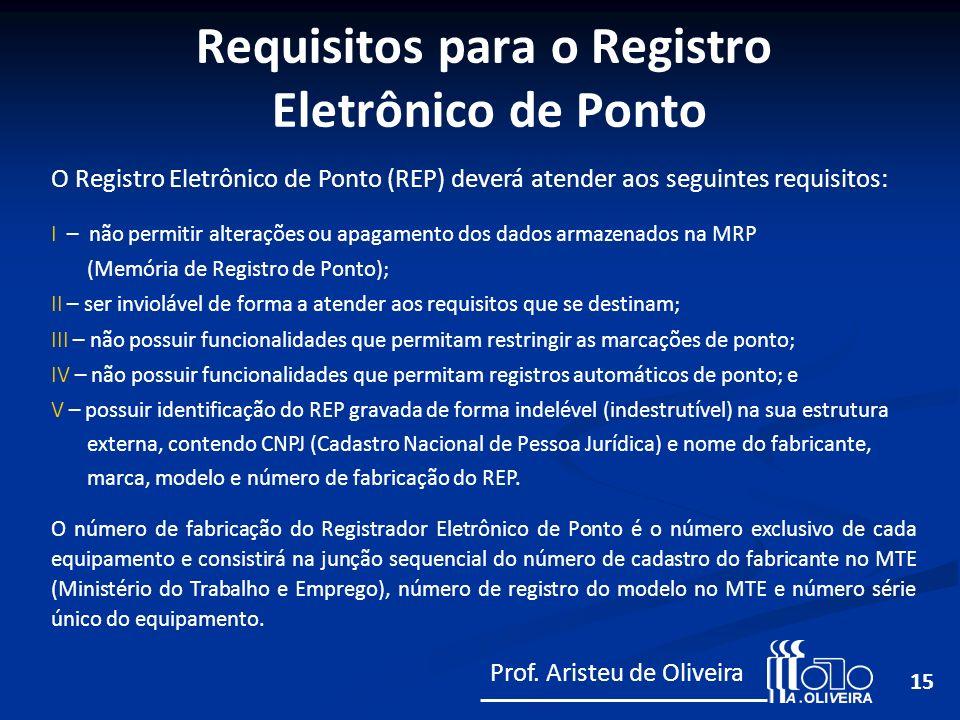 Requisitos para o Registro Eletrônico de Ponto