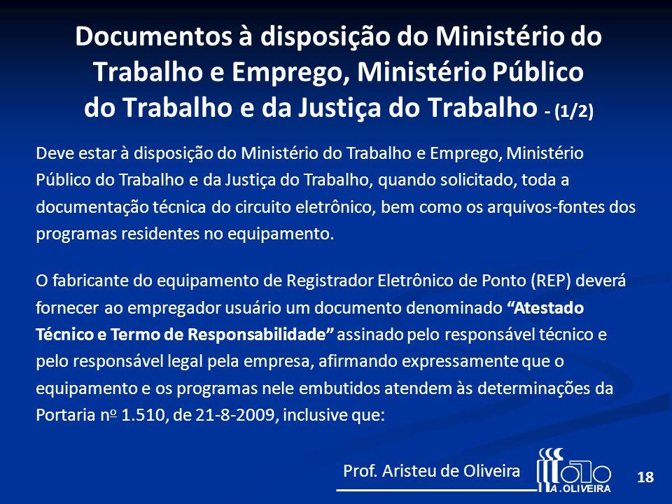 Documentos à disposição do Ministério do Trabalho e Emprego, Ministério Público do Trabalho e da Justiça do Trabalho - (1/2)
