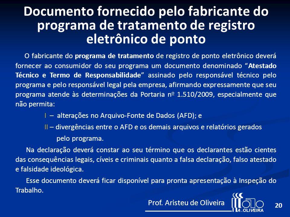 Documento fornecido pelo fabricante do programa de tratamento de registro eletrônico de ponto