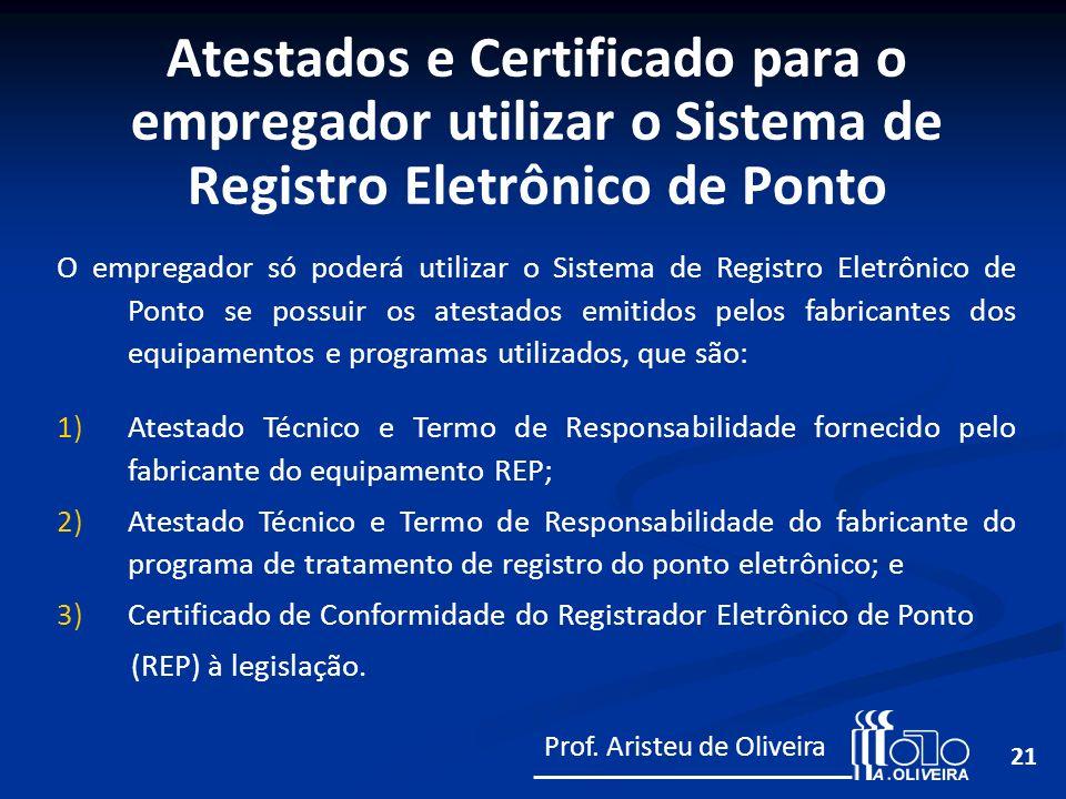 Atestados e Certificado para o empregador utilizar o Sistema de Registro Eletrônico de Ponto