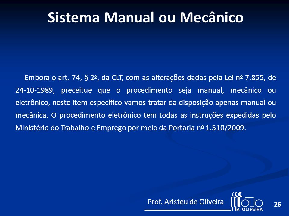 Sistema Manual ou Mecânico