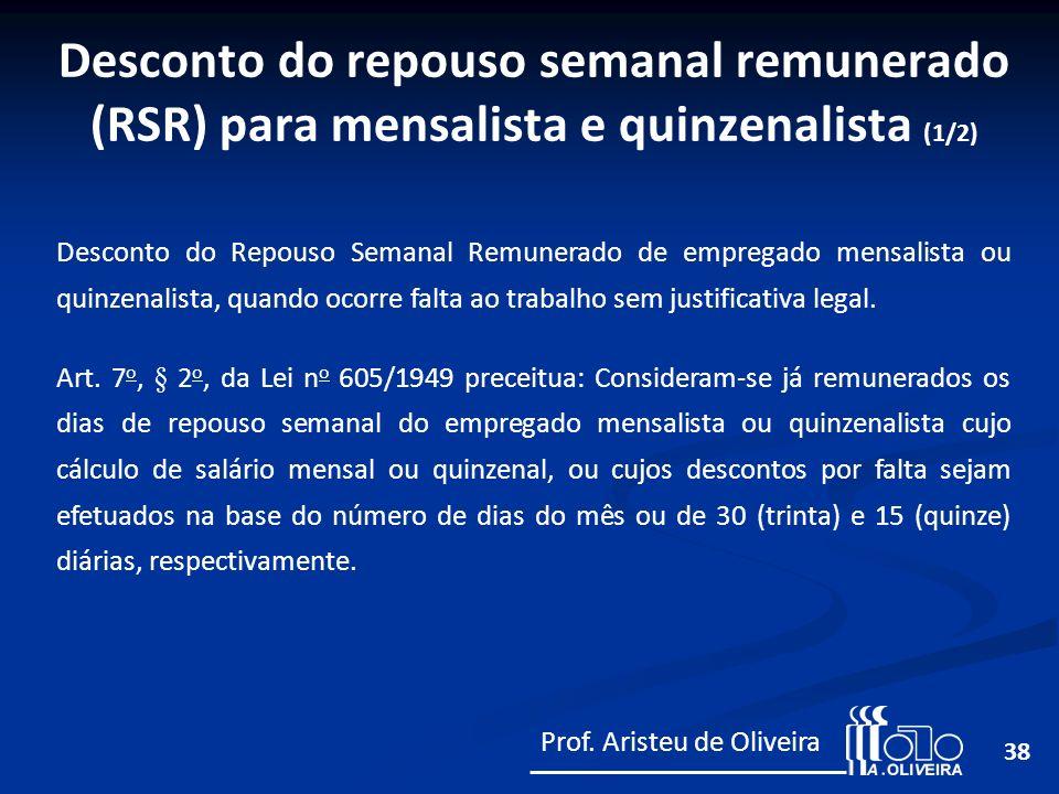 Desconto do repouso semanal remunerado (RSR) para mensalista e quinzenalista (1/2)