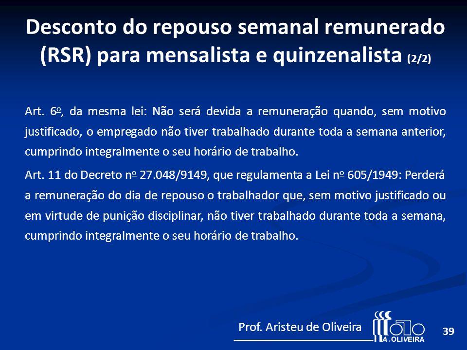 Desconto do repouso semanal remunerado (RSR) para mensalista e quinzenalista (2/2)