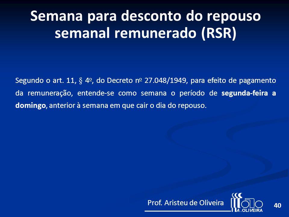 Semana para desconto do repouso semanal remunerado (RSR)