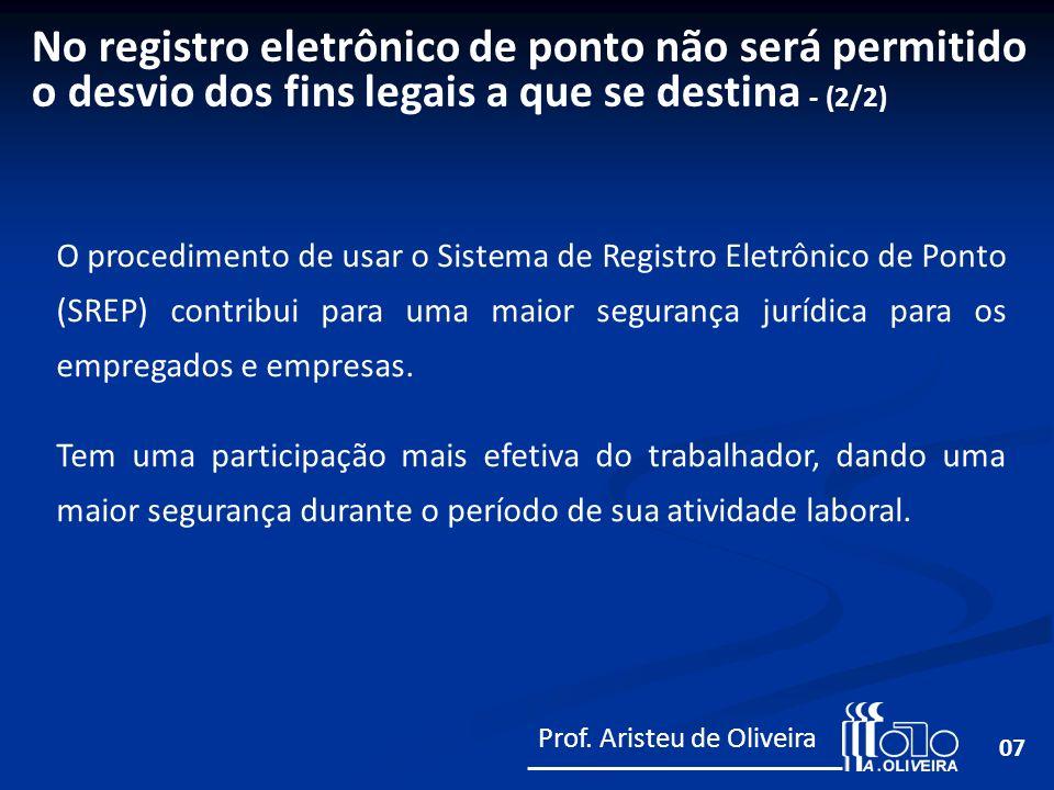 No registro eletrônico de ponto não será permitido o desvio dos fins legais a que se destina - (2/2)