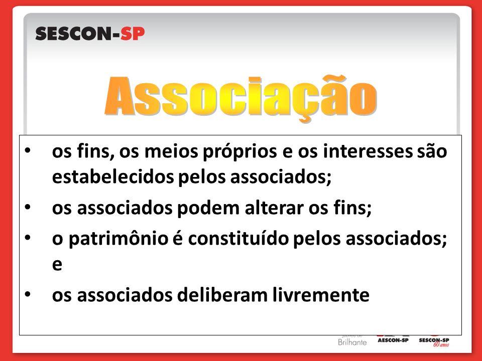 Associação os fins, os meios próprios e os interesses são estabelecidos pelos associados; os associados podem alterar os fins;