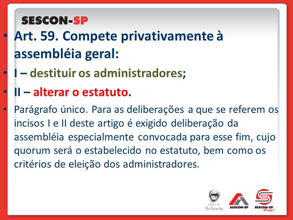 Art. 59. Compete privativamente à assembléia geral: