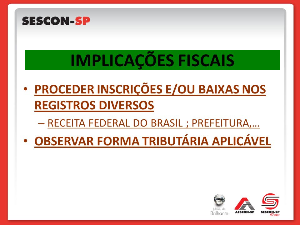 IMPLICAÇÕES FISCAIS PROCEDER INSCRIÇÕES E/OU BAIXAS NOS REGISTROS DIVERSOS. RECEITA FEDERAL DO BRASIL ; PREFEITURA,…