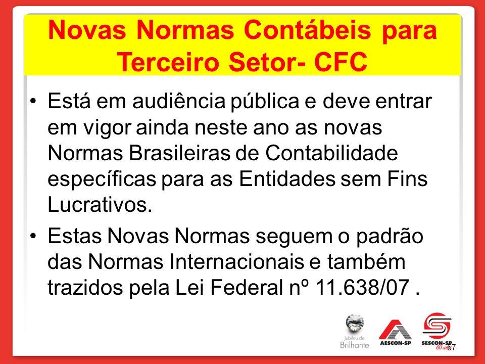 Novas Normas Contábeis para Terceiro Setor- CFC