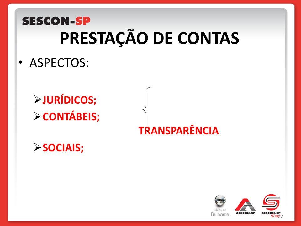 PRESTAÇÃO DE CONTAS ASPECTOS: JURÍDICOS; CONTÁBEIS; TRANSPARÊNCIA