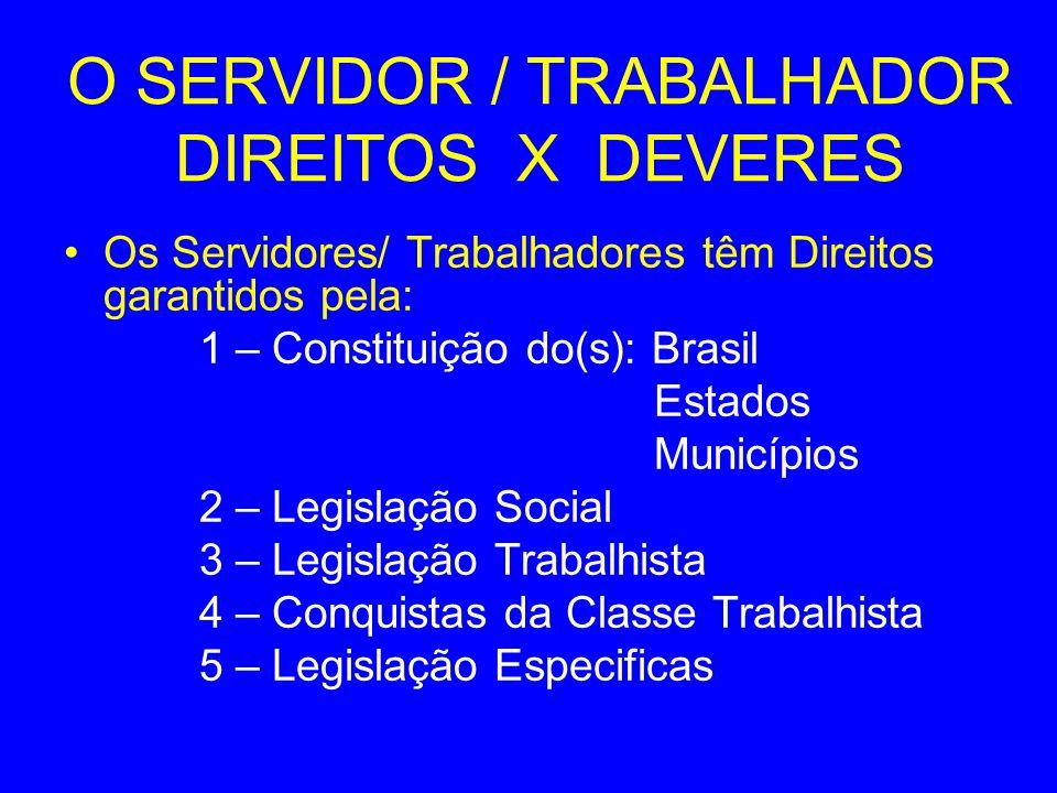 O SERVIDOR / TRABALHADOR DIREITOS X DEVERES