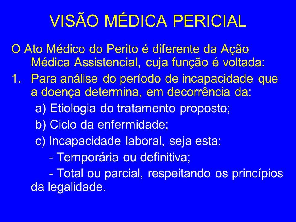 VISÃO MÉDICA PERICIAL O Ato Médico do Perito é diferente da Ação Médica Assistencial, cuja função é voltada: