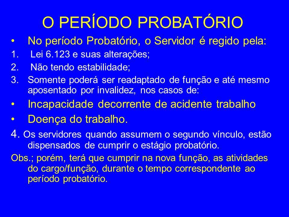 O PERÍODO PROBATÓRIO No período Probatório, o Servidor é regido pela: