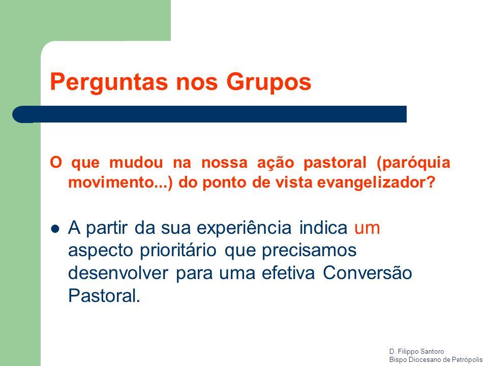 Perguntas nos Grupos O que mudou na nossa ação pastoral (paróquia movimento...) do ponto de vista evangelizador
