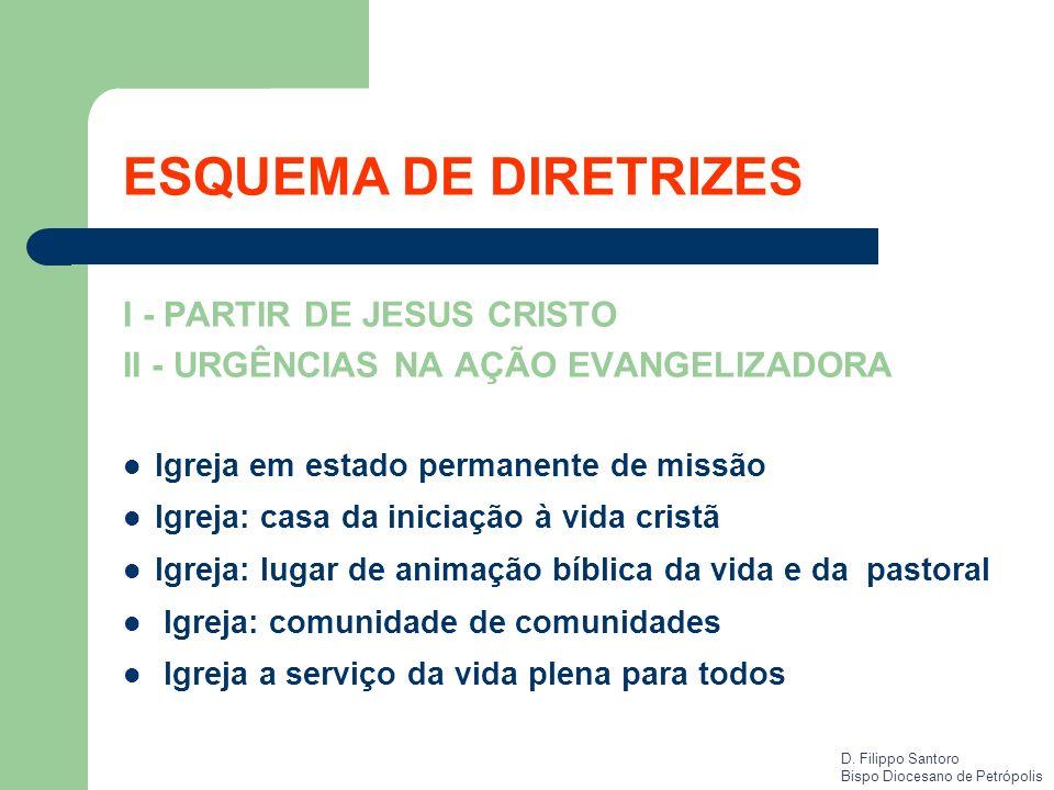 ESQUEMA DE DIRETRIZES I - PARTIR DE JESUS CRISTO