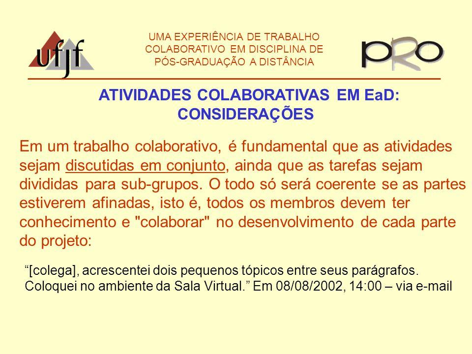 ATIVIDADES COLABORATIVAS EM EaD: