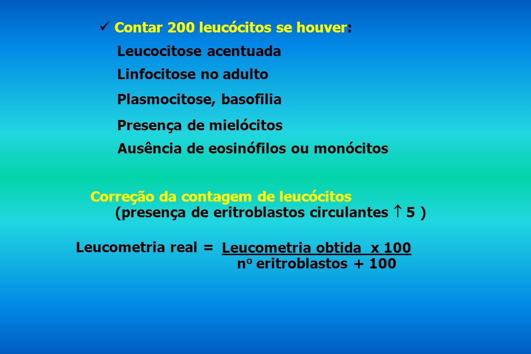  Contar 200 leucócitos se houver: