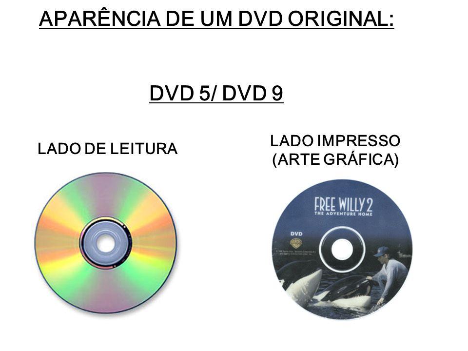 APARÊNCIA DE UM DVD ORIGINAL: DVD 5/ DVD 9