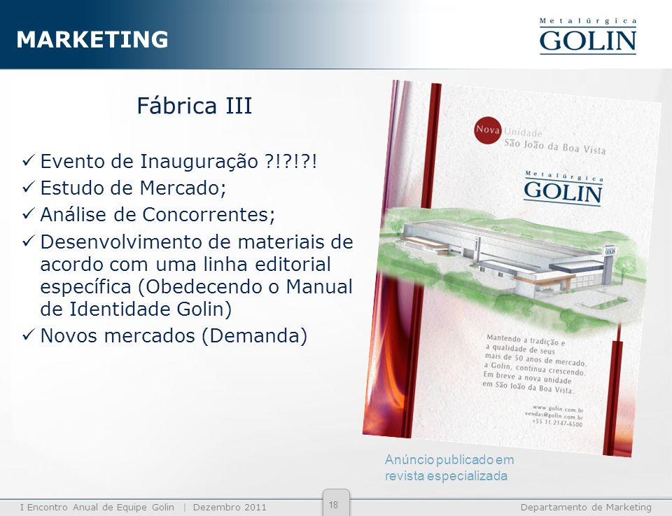 MARKETING Fábrica III Evento de Inauguração ! ! ! Estudo de Mercado;