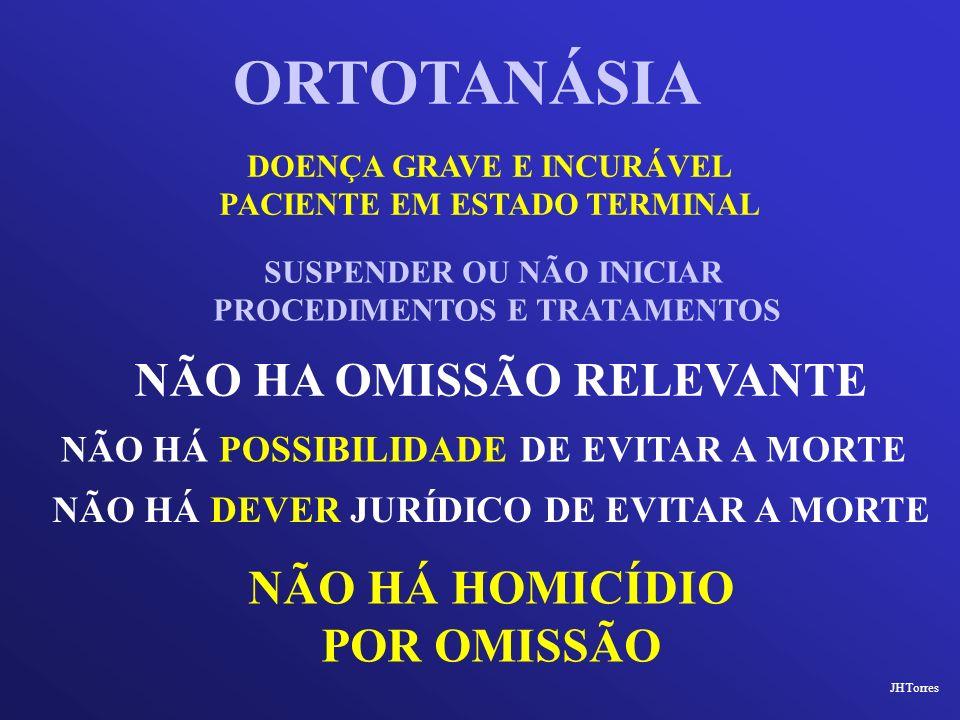 ORTOTANÁSIA NÃO HA OMISSÃO RELEVANTE NÃO HÁ HOMICÍDIO POR OMISSÃO