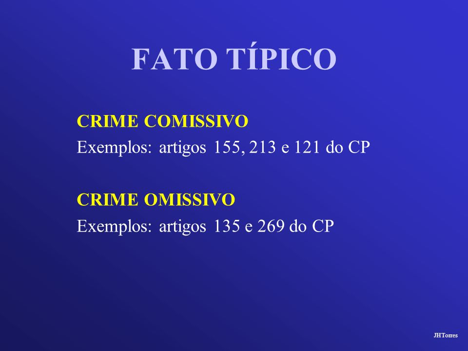 FATO TÍPICO CRIME COMISSIVO Exemplos: artigos 155, 213 e 121 do CP