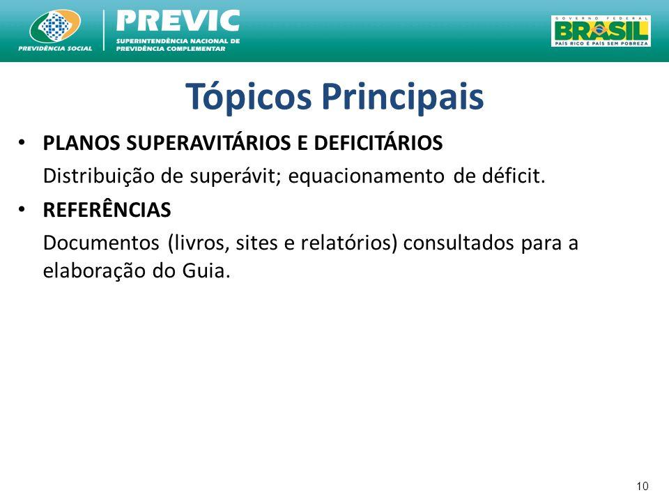 Tópicos Principais PLANOS SUPERAVITÁRIOS E DEFICITÁRIOS