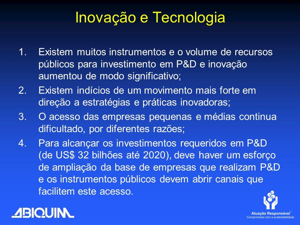 Inovação e Tecnologia Existem muitos instrumentos e o volume de recursos públicos para investimento em P&D e inovação aumentou de modo significativo;