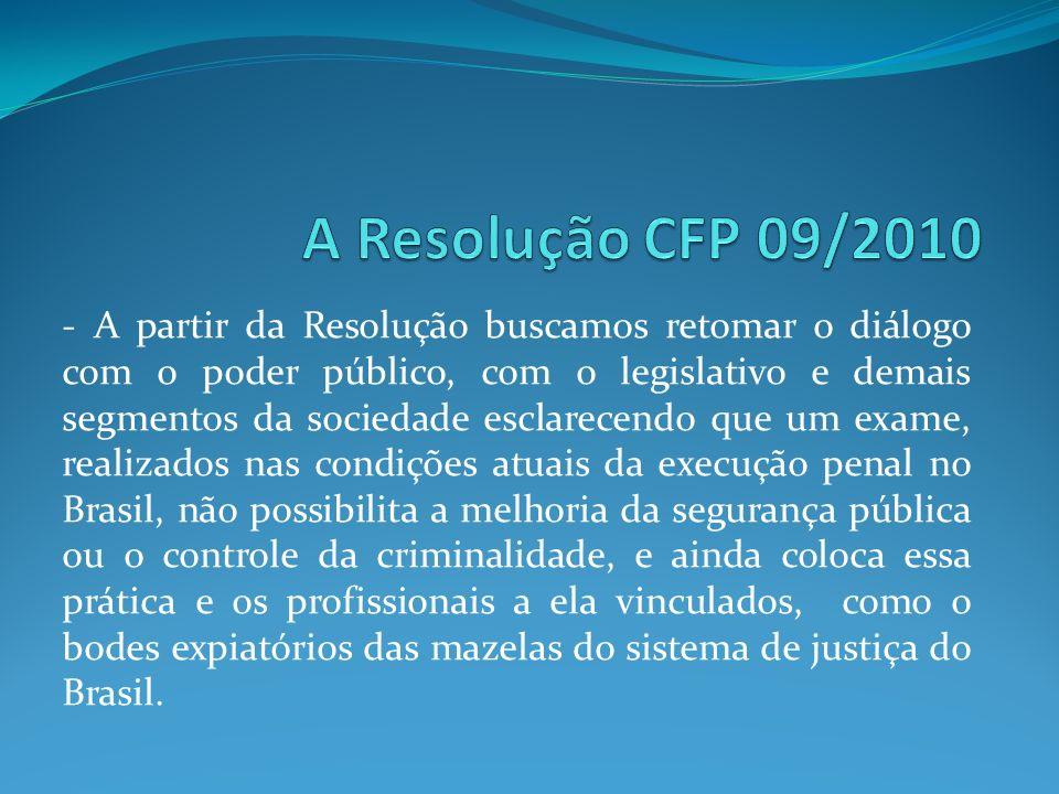 A Resolução CFP 09/2010