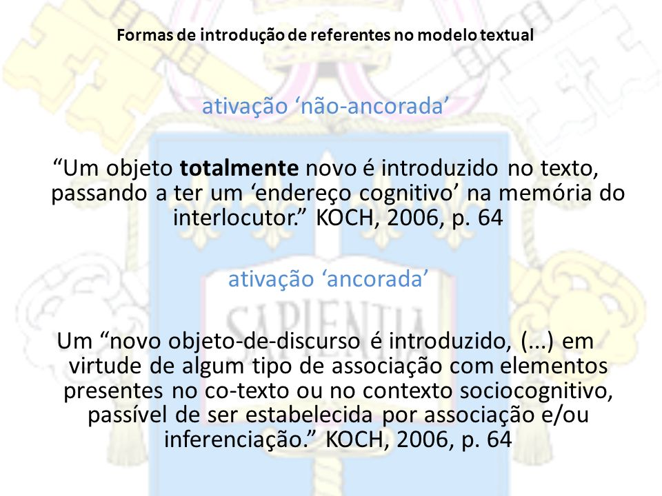 Formas de introdução de referentes no modelo textual