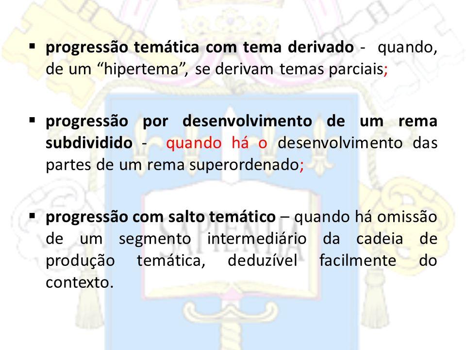 progressão temática com tema derivado - quando, de um hipertema , se derivam temas parciais;